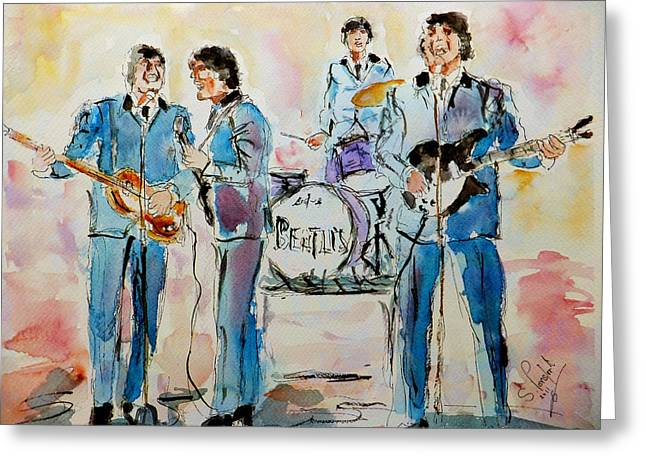 New_york Greeting Cards - The Beatles Greeting Card by Steven Ponsford