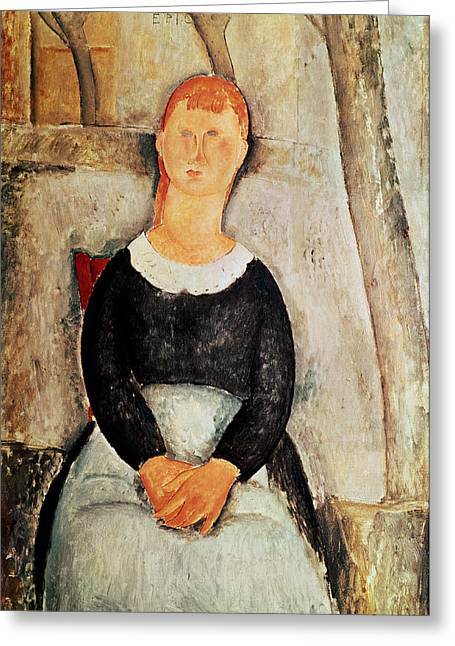 Grocer Greeting Cards - The Beautiful Grocer Greeting Card by Amedeo Modigliani