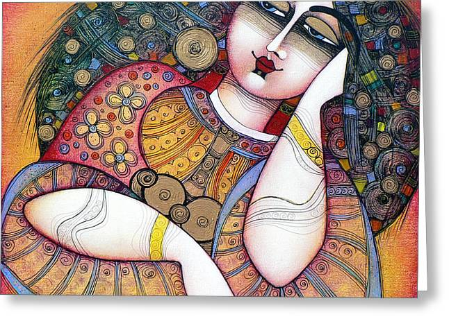 Red Art Greeting Cards - The Beauty Greeting Card by Albena Vatcheva