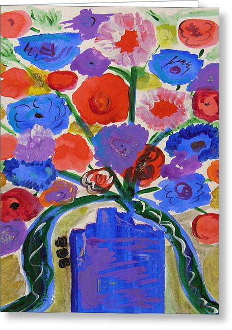Vase Of Flowers Drawings Greeting Cards - The Beauty of Blues Greeting Card by Mary Carol Williams
