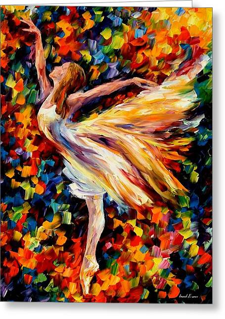 People Paintings Greeting Cards - The Beauty Of Dance Greeting Card by Leonid Afremov