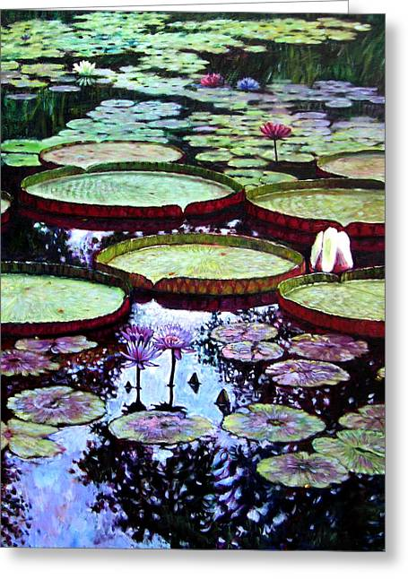 Water Garden Greeting Cards - The Beauty of Stillness Greeting Card by John Lautermilch