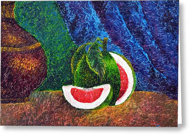 Grapefruit Paintings Greeting Cards - The Beauty Within Series--Juicy Grapefruit Greeting Card by Luxo N P