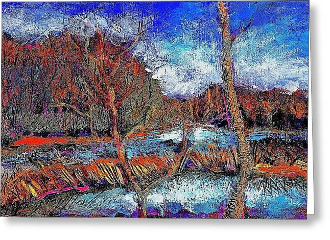 Acrylic Art Greeting Cards - The Beaver Dam Greeting Card by Ion vincent DAnu