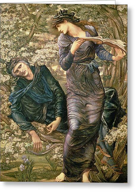 Burne Greeting Cards - The Beguiling of Merlin Greeting Card by Sir Edward Burne-Jones