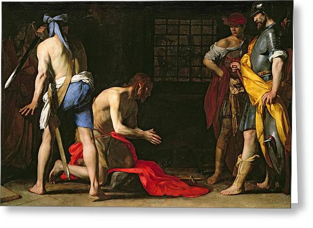 Doomed Greeting Cards - The Beheading of John the Baptist Greeting Card by Massimo Stanzione