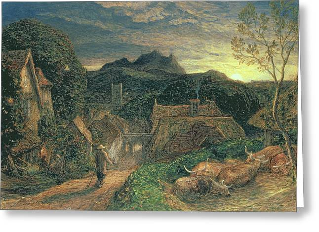 Village Scenes Greeting Cards - The Bellman Greeting Card by Samuel Palmer