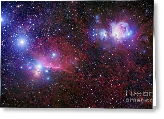 View From Space Greeting Cards - The Belt Stars Of Orion Greeting Card by Robert Gendler
