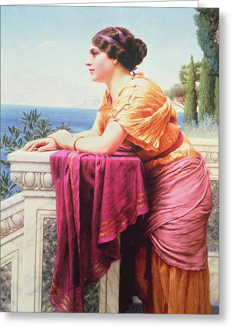 Ocean Shore Greeting Cards - The Belvedere Greeting Card by John William Godward