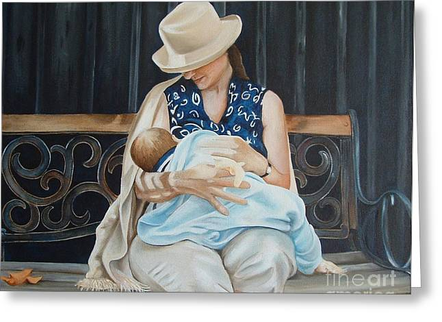 Bonding Paintings Greeting Cards - The Bench Greeting Card by Daniela Easter