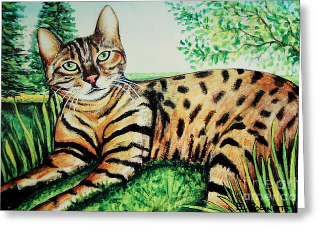 Bengal Drawings Greeting Cards - The Bengal Greeting Card by Elizabeth Robinette Tyndall