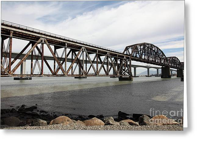 Carquinez Straits Greeting Cards - The Benicia-Martinez Train Bridge in California - 5D18675 Greeting Card by Wingsdomain Art and Photography