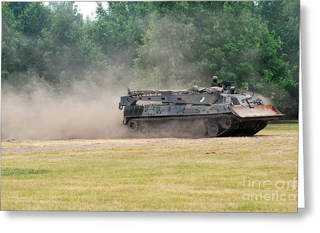 Belgian Army Greeting Cards - The Bergepanzer Used By The Belgian Army Greeting Card by Luc De Jaeger