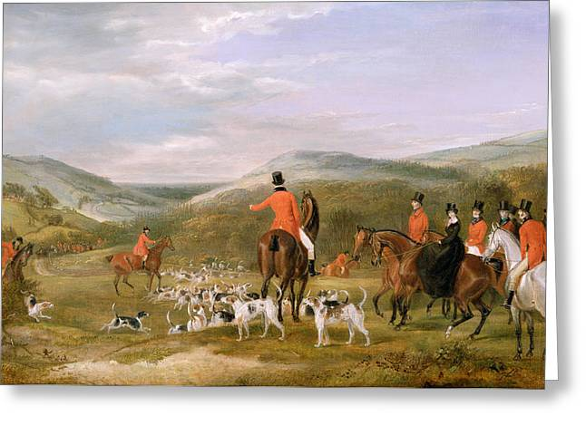 Hunter Greeting Cards - The Berkeley Hunt Greeting Card by Francis Calcraft Turner