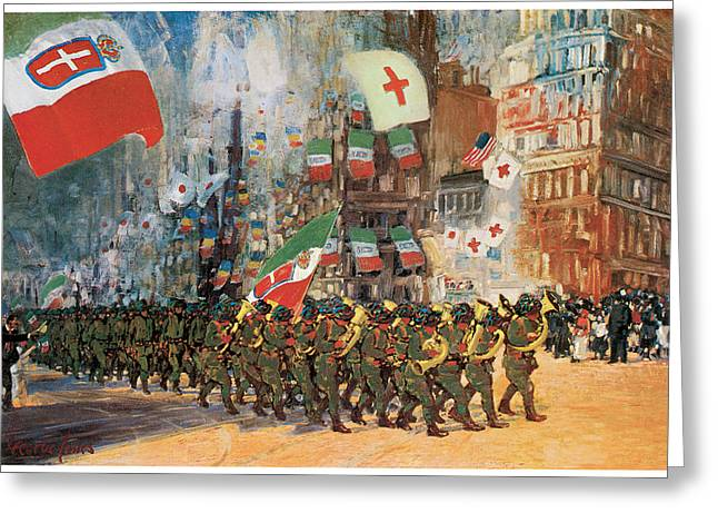 Marching Band Greeting Cards - The Bersaglieri Greeting Card by George Benjamin Luks