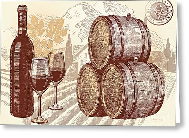 Glass Bottle Greeting Cards - The Best Vintage Wine Greeting Card by Cheryl Young