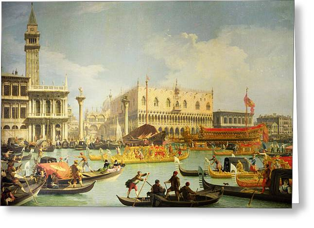 Giovanni Greeting Cards - The Betrothal of the Venetian Doge to the Adriatic Sea Greeting Card by Canaletto