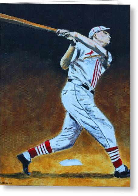 Baseball Paintings Greeting Cards - The Big Cat Greeting Card by Ralph LeCompte