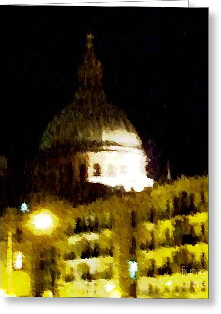 Domes Mixed Media Greeting Cards - The Big Dome Greeting Card by Alfie Borg