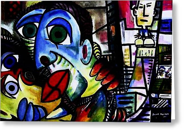 Acylic Paint Greeting Cards - The Big Kiss Greeting Card by Brent Eric Allison