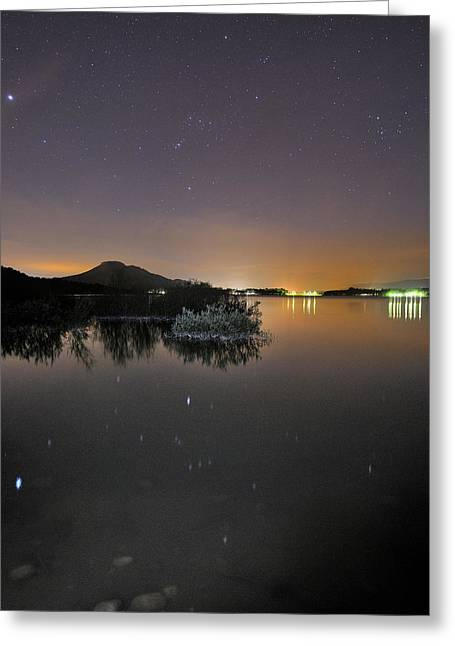 Pleiades Greeting Cards - The Big star Sirius the Costelation of Orion and Taurus reflected at the lake Greeting Card by Guido Montanes Castillo