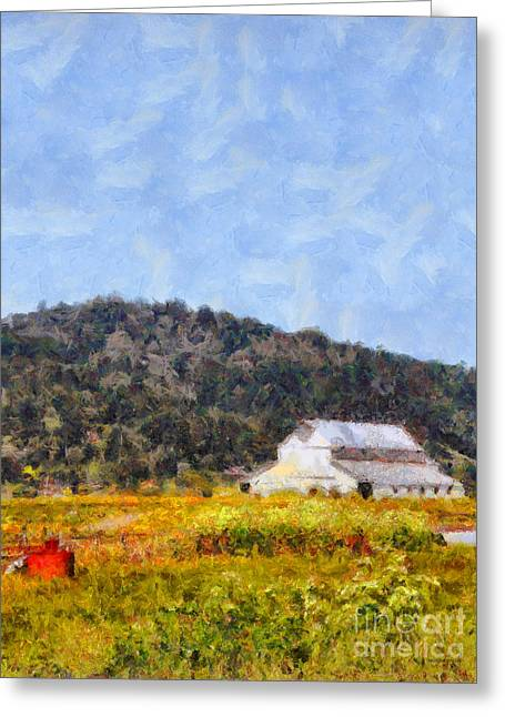 Back Roads Digital Art Greeting Cards - The Big White Barn At Point Reyes California . 7D15933 Greeting Card by Wingsdomain Art and Photography