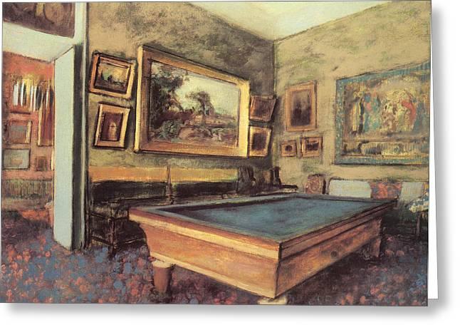 Billiards Greeting Cards - The Billiard Room at Menil-Hubert Greeting Card by Edgar Degas