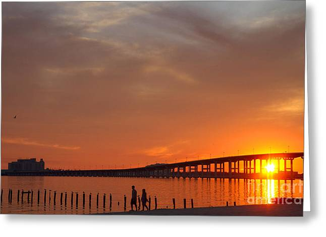 Biloxi Ocean Springs Bridge Greeting Cards - The Biloxi Bay Bridge at Sunset Greeting Card by David R Frazier and Photo Researchers