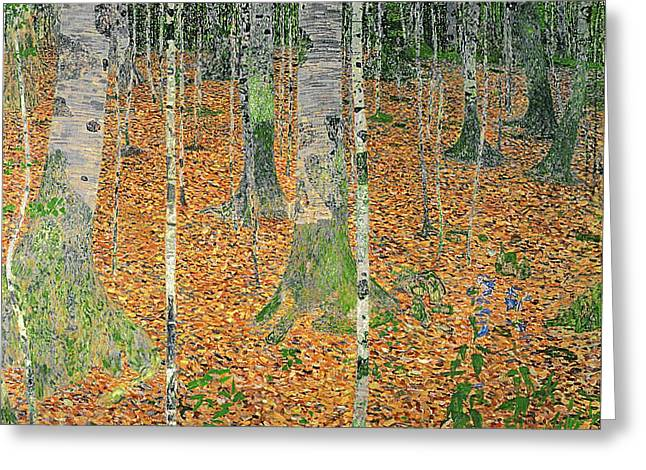 Expressionist Greeting Cards - The Birch Wood Greeting Card by Gustav Klimt