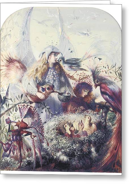 Birds In A Nest Greeting Cards - The Birds Nest Greeting Card by John Anster Fitzgerald