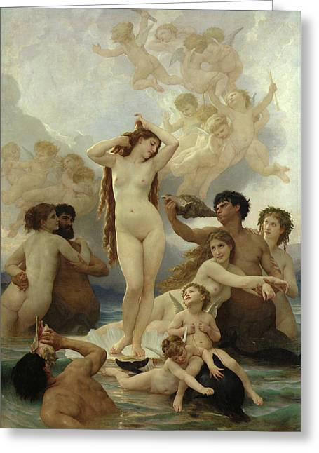 Conch Greeting Cards - The Birth of Venus Greeting Card by William-Adolphe Bouguereau
