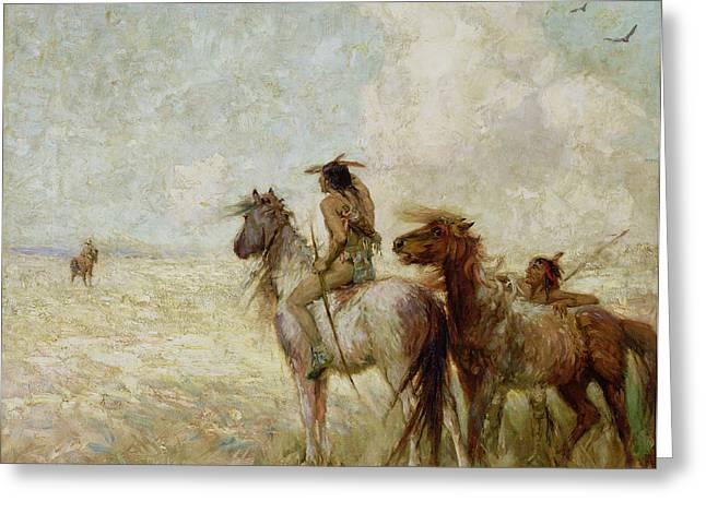 The Bison Hunters Greeting Card by Nathaniel Hughes John Baird