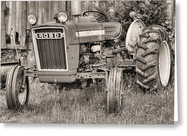 Tractor Tire Greeting Cards - The Black and White Ford Greeting Card by JC Findley