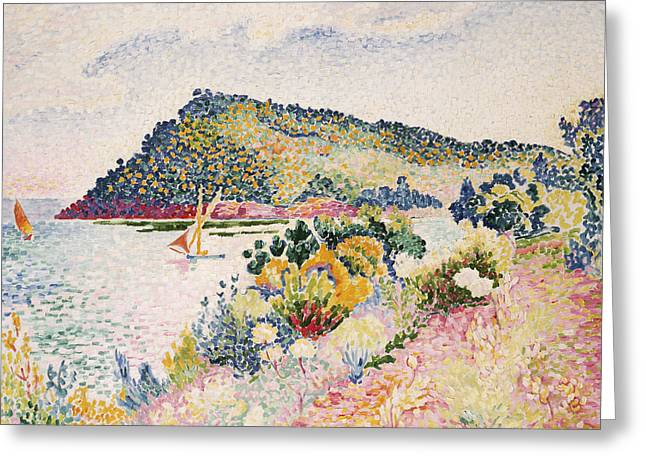 Riviera Greeting Cards - The Black Cape Pramousquier Bay Greeting Card by Henri-Edmond Cross