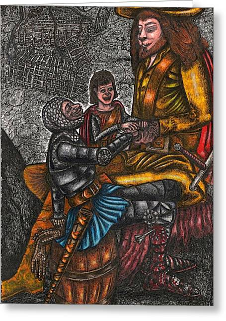 The Black Knight Thanks The Beast For Saving Him Greeting Card by Al Goldfarb