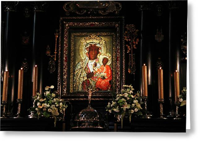 Altar Picture Greeting Cards - The Black Madonna II Greeting Card by Mariola Bitner
