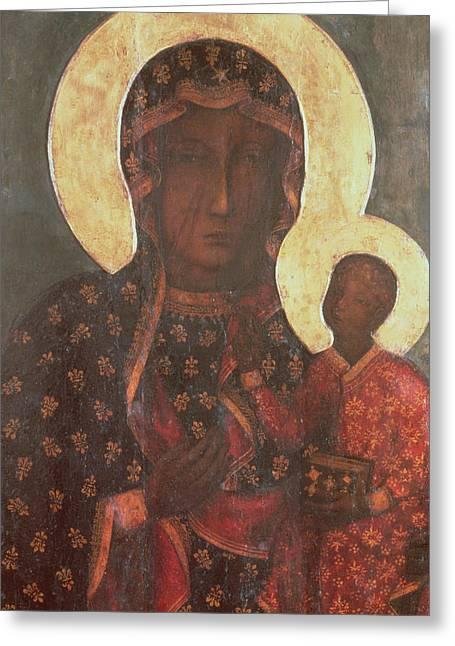 Black Russian Greeting Cards - The Black Madonna of Jasna Gora Greeting Card by Russian School