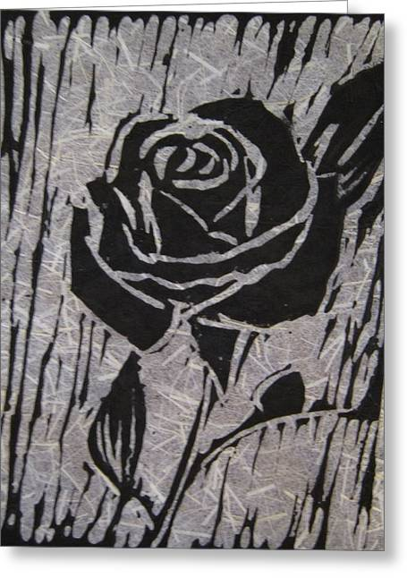 Linoleum Block Print Reliefs Greeting Cards - The Black Rose Greeting Card by Marita McVeigh