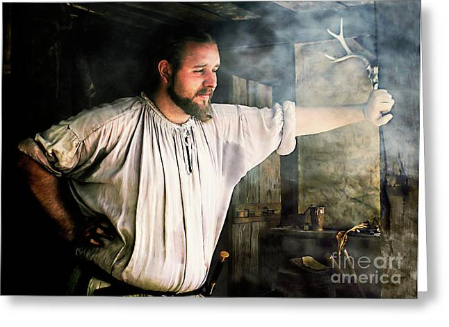 Festival Park Greeting Cards - The Blacksmith Greeting Card by Susan Isakson