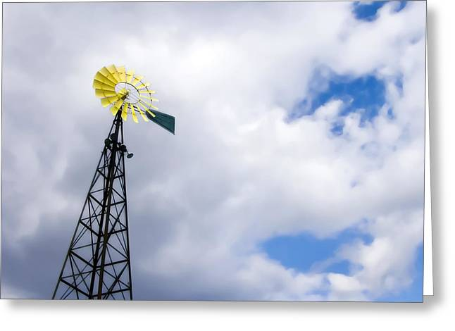 Off The Grid Greeting Cards - The Blades Of A Windmill Are Painted Greeting Card by Amy White & Al Petteway