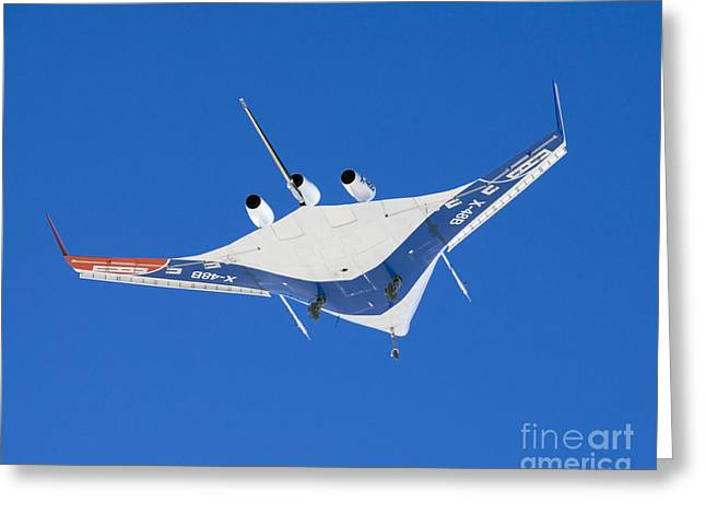 Aeronautics Greeting Cards - The Blended Wing Body X-48b Soars Greeting Card by Stocktrek Images