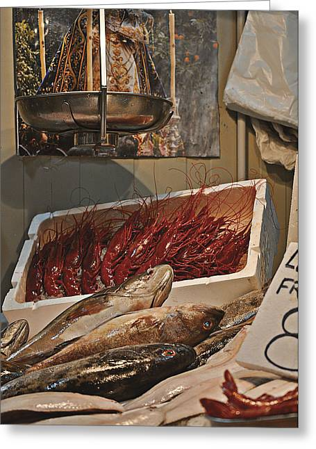 Prawns Greeting Cards - The Blessed Fish Market Greeting Card by Mary Machare