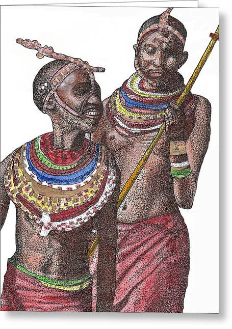 Gold Necklace Greeting Cards - The Blind Kings Greeting Card by Duwayne Washington