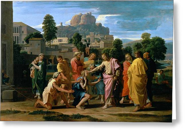 Healer Greeting Cards - The Blind of Jericho Greeting Card by Nicolas Poussin
