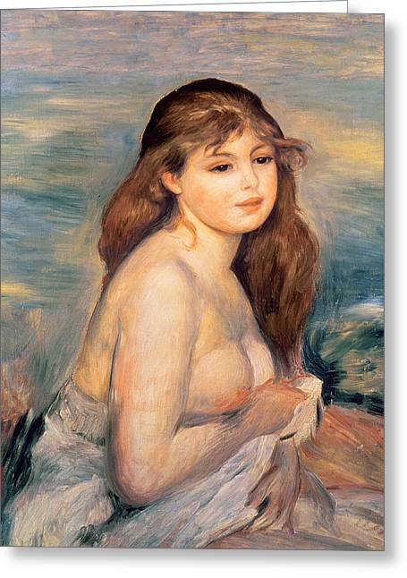 1887 Greeting Cards - The Blonde Bather Greeting Card by Pierre Auguste Renoir