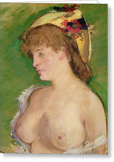 Manet Greeting Cards - The Blonde with Bare Breasts Greeting Card by Edouard Manet