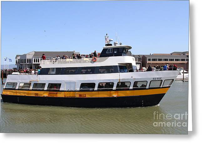 Fishermens Wharf Greeting Cards - The Blue And Gold Fleet . Old Blue . San Francisco California . 7D14284 Greeting Card by Wingsdomain Art and Photography