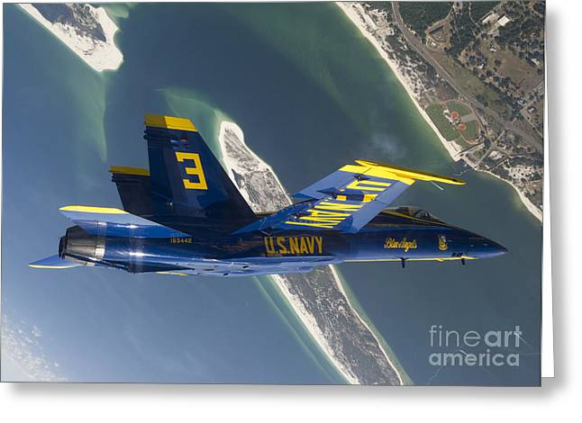 Flying Planes Greeting Cards - The Blue Angels Perform A Looping Greeting Card by Stocktrek Images