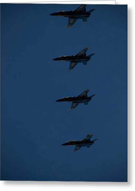 Fa-18 Greeting Cards - The Blue Angels Perform At The Great Greeting Card by Heather Perry