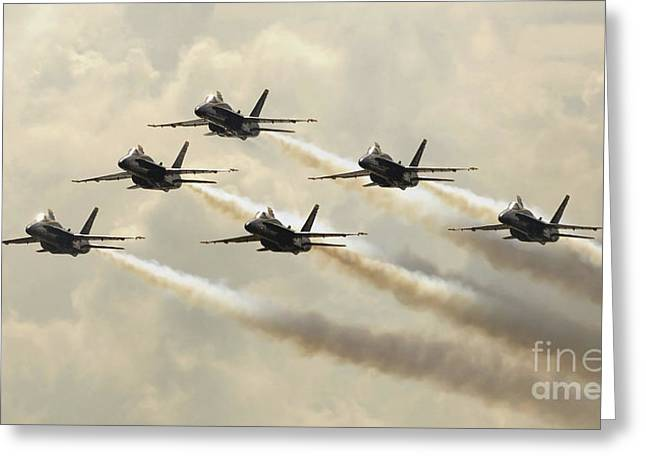The Blue Angels Perform Their Delta Greeting Card by Stocktrek Images